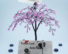 Wire Bead Tree Sculpture Business Card Display by wireforest