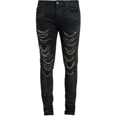 SAINT LAURENT Distressed Chain Jeans ($1,910) ❤ liked on Polyvore