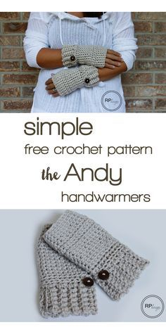 "Simple & free crochet pattern ""The Andy"" hand warmers by Rescued Paw Designs tutorial ༺✿ƬⱤღ✿༻ Crochet Gifts, Diy Crochet, Simple Crochet, Hand Crochet, Crochet Scarves, Crochet Clothes, Crochet Hand Warmers, Crochet Stitches, Crochet Patterns"