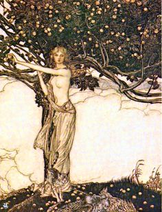 The goddess Freia stands under a tree of apples with her cats by her feet. Note that Wagner's Freia merges the Norse goddesses Freyja and Iðunn. Illustration by Arthur Rackham - to Richard Wagner's Das Rheingold, Public Domain via Wikipedia. Norse Goddess, Goddess Of Love, Goddess Art, Norse Mythology, Divine Goddess, Arthur Rackham, Richard Wagner, William Blake, Gods And Goddesses