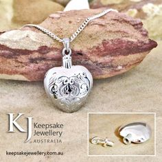 Etched Heart in solid Sterling Silver especially crafted to hold keepsakes inside.