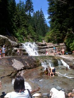 Denny Creek trail and natural waterslide.  Hours of fun!  Just outside of North Bend, WA.