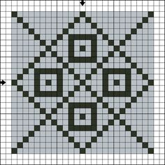 Free Tile Nine Counted Cross Stitch Pattern - Free Printable Chart: Free Two Color Tile Nine Counted Cross Stitch Pattern - Free Printable Chart