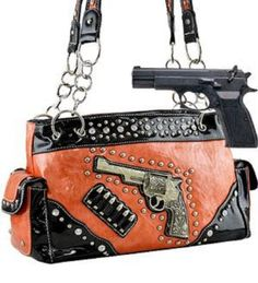 Orange Six-Shooter Conceal and Carry Purse with Rhinestones - Handbags, Bling & More!