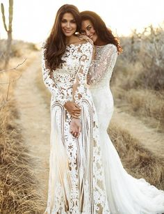 Megan Gale Models Lace Bridal Wear with Pia Miller in Photo Shoot