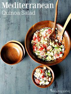 Mediterranean Quinoa Salad - Bring all of those delicious Mediterranean flavors together in this beautiful quinoa salad. Perfect as a side, or a main for your Meatless Monday. From www.bobbiskozykitchen.com