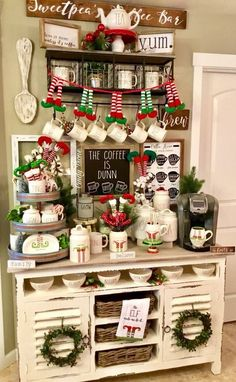 Rae Dunn Christmas Home Coffee Bar with lots of French Country Accents Christmas Coffee, Winter Christmas, Christmas Home, Christmas Crafts, Christmas Decorations, Holiday Decor, Xmas, Christmas Drinks, Elegant Christmas