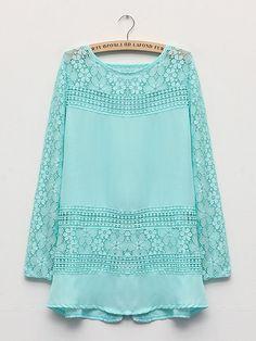 Floral Through Lace Splicing Long Sleeve Chiffon Blouse Shirts