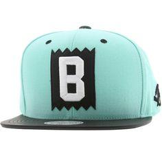 BAIT x Mitchell And Ness B Box Logo Snapback Cap - Leather Brim (mint / black) NQ43Z-171 - $25.99