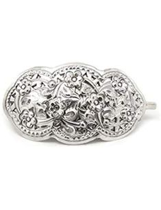 Handmade,925 Sterling Silver  So Good Ornately Hair Clip Pin Barrette size 6 cm.