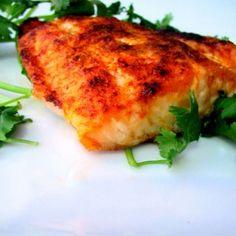 INGREDIENTS:-12oz WILD Atlantic Salmon Filet (2 Servings)-2 Tbspns Olive Oil-1/2 Lemon Juiced-To Taste: Cayanne Pepper, Cumin,Garlic Powder, Salt, & Smoked Paprika.METHOD to the MADNESS:-Pre-Heat Oven to 450 Degrees.-In Small Bowlstir togetherOlive Oil &Lemon
