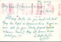 Postcard from SN Goenka expressing his metta sent just days prior to Ruth Dennison being removed from teaching in the tradition of Sayagyi U Ba Khin's International Meditation Center. He signs his name in Burmese script.  #goenka #sngoenka #goenkaji #goenkas #vipassana