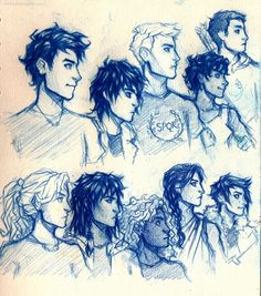 the boys and girls of Olympus: from top left: Percy Jackson, son of Poseidon; Nico di Angelo, son of Hades; Jason Grace, son of Jupiter; Leo Valdez, son of Hephaestus; Frank Zhang, son of Mars. For the girls, left to right: Annabeth Chase, daughter of Athena; Piper Mclean, daughter of Aphrodite; Hazel Levesque, daughter of Pluto; Reyna Remirez, daughter of Bellona; Thalia Grace, daughter of Zeus