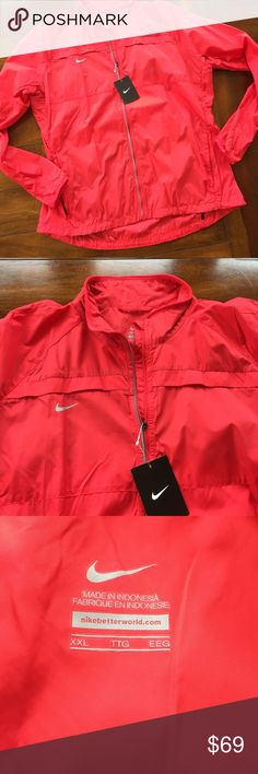 NWT NIKE JACKET XXL NWT lightweight Nike jacket in red. Pictures look a little orange in my phone. It is more red. Great jacket for spring with zip up front and zip pockets and.  Breathable top shoulder flap in back as shown. Drawstring on each side at bottom around trim. XXL Nike Jackets & Coats