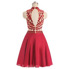 High Neck Sheer Beaded Sexy Short Red Keyhole Back Homecoming Dress