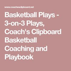 Basketball Plays - 3-on-3 Plays, Coach's Clipboard Basketball Coaching and Playbook