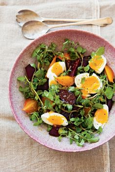 Beet and Watercress Salad with Farm Eggs  1 1/2 to 1 3/4 lb. baby beets 6 to 8 organic eggs Sea salt, to taste, plus 1/2 tsp. Freshly ground pepper, to taste 3 Tbs. extra-virgin olive oil 2 Tbs. Champagne vinegar 2 Tbs. fresh orange juice 1 tsp. finely grated orange zest 4 oz. watercress, tough stems removed, leaves torn into bite-size pieces