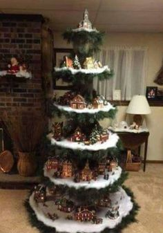 Weihnachten Want to make your own Christmas tree show your Christmas village. After purchasing, send Christmas Tree Village Display, Creative Christmas Trees, Christmas Villages, Xmas Tree, Christmas Tree Decorations, Decorated Christmas Trees, Christmas Displays, Noel Christmas, Outdoor Christmas