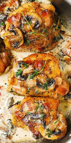 BAKED Chicken Thighs with Creamy Bacon and Mushroom Thyme Sauce. Easy, delicious!
