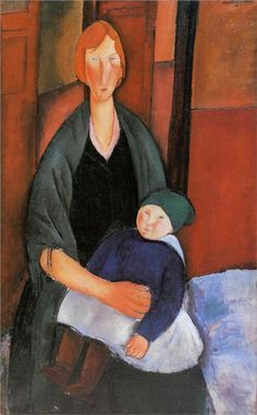 Seated Woman with Child (also known as Motherhood) Amedeo Modigliani Musee d'Art Moderne - Villenueve d'Ascq Painting - oil on canvas Amedeo Modigliani, Modigliani Paintings, Oil Paintings, Frank Stella, Italian Painters, Italian Artist, Alphonse Mucha, Norman Rockwell, Georges Braque