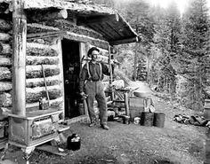 CABIN PIKES PEAK 1901 COLORADO....WHY IS THE STOVE OUTSIDE?