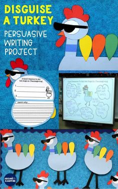 Need fun ideas for your turkey in disguise project? Here's a new twist on disguise a turkey where students help save poor Tom Turkey through persuasive writing and convince their families to eat hot dogs instead of turkey on Thanksgiving! Includes disguise a turkey craft booklet template and activities with bulletin board ideas that kids love!