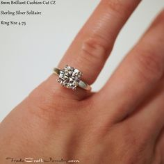 Cushion Cut CZ Engagement Ring - Set in a 4 Prong Sterling Silver Solitaire - Custom Made in Sizes including & Sizes Engagement Ring On Hand, Engagement Ring Settings, Cubic Zirconia Engagement Rings, 3 Stone Rings, Diamond Simulant, Handmade Rings, Conflict Free Diamonds, Anniversary Rings, Promise Rings