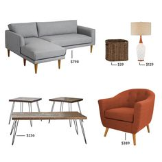 "MCM living room - Get the look! We're giving you a brief history of the mid-century trend as well as a list of affordable products and ""Get the Look"" inspiration!"