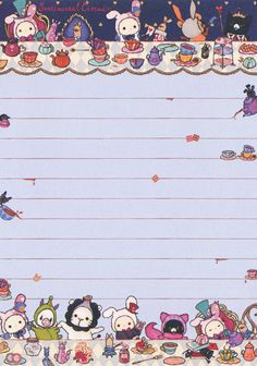 "San-X Sentimental Circus ""Alice in Wonderland"" Memo ( Hello Kitty Wallpaper, Kawaii Wallpaper, Origami Sheets, Memo Template, Envelopes, Free Printable Stationery, Hello Kitty Characters, Kawaii Stationery, Writing Paper"