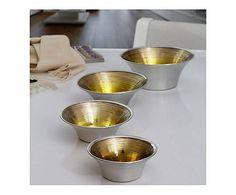 Coppa in vetro Millerighe gold oro e beige - D 20/H 7 cm