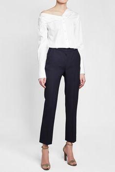 Victoria Victoria Beckham One Shoulder Cotton Shirt World Of Fashion, Fashion Online, Victoria Beckham Collection, Wool Pants, White Style, Neiman Marcus, Catwalk, New Look, Luxury Fashion
