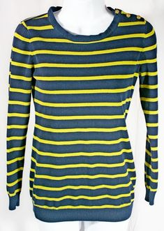 8bb28f103 Forever 21 striped sweater is labeled as a size small. Navy blue base with  yellow horizontal stripes and three gold tones buttons on the left shoulder.