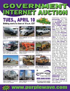 Government surplus and equipment auction on April 10, 2012  - http://www.purplewave.com/a/120410