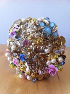 Vintage Spring Flower and Butterfly Brooch and Button Bouquet £130.00