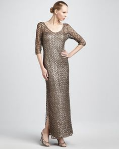 Sequined Lace-Overlay Gown by Kay Unger New York at Neiman Marcus.