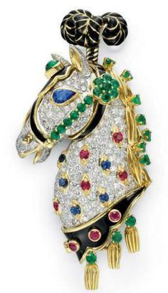 A Diamond, Multi-Gem and Enamel Brooch, by David Webb