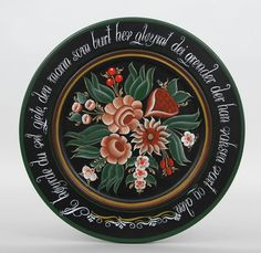 Traditional Valdres rosemaling. This piece was painted by Eli Sælid of Valdres, Norway You will notice that traditional Valdres does not use the color blue.