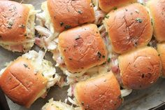 Chicken Bacon Ranch Pull-Apart Sliders Recipe | eHow Dinner Dishes, Food Dishes, Chicken Little Recipe, Chicken Sliders, Chicken Bacon Ranch Wrap, Slider Sandwiches, Leftover Rotisserie Chicken, Slider Recipes, How To Cook Chicken