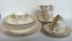 Summer Sale - Circa 1930 'Bridal Gold' Dinnerware by Royal China, Vintage Kitchen