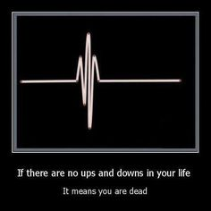 If there are no ups and downs in your life It means you are dead. Nurse humor!