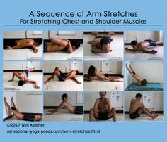 A mix of gravity assisted and muscle assisted arm and shoulder stretches, (most, courtesy of Andrey Lappa).