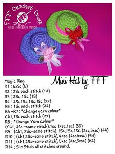 Mini hat free pattern by fff