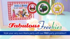 Mario Birthday Party Decorations {FREE printables}stick the cupcake toppers on lollipops and wrap,make tree using string,stick lolipops like branches
