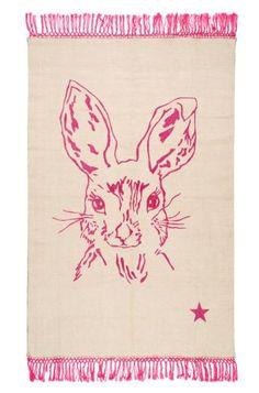 Cotton Rug: Pop Rabbit white pink available online and at the shop www.bobokids.co.uk