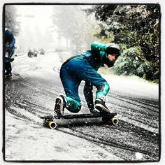 Downhill in the snow.