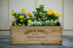 wine crate flowers