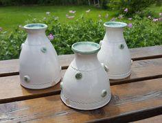 Hand thrown stoneware ceramic pottery 'Copper Poppyseed' BUD VASE, shiny white glaze with stamped poppy seed-head design by ClairePorterCeramics on Etsy