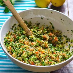 QUINOA TABBOULEH:  1 cup quinoa,  1 + 1/4 cup water, 3 large tomatoes,  1/2 English cucumber,  1 + 1/2 cup parsley leaves,  1/2 c mint leaves,  2 large green onion sprigs,  3 tbsp olive oil,  1 lemon,  salt, pepper