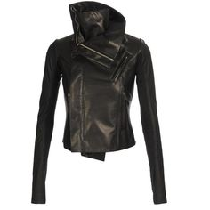 RICK OWENS Combination leather biker jacket (58 280 UAH) ❤ liked on Polyvore featuring outerwear, jackets, coats, tops, biker jacket, moto jacket, leather jacket, black motorcycle jacket i long leather jacket