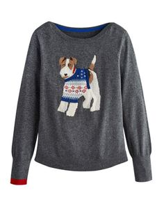 Joules null Womens Intarsia Jumper, Christmas Dog.                     Crafted for a super-soft feel and adorned with a cool animal intarsia that is guaranteed to raise a smile whenever it makes an appearance, this jumper is great to add a bit of character to your wardrobe.